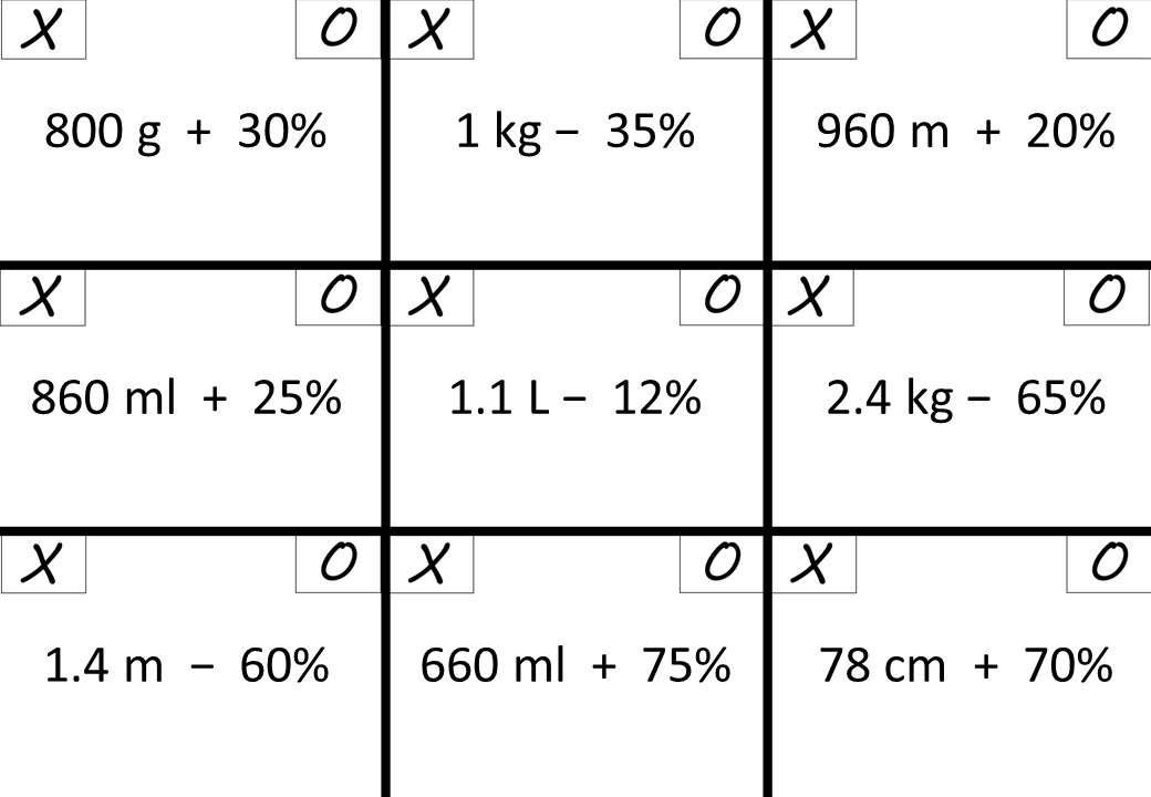 Percentage - Increase & Decrease - Noughts & Crosses
