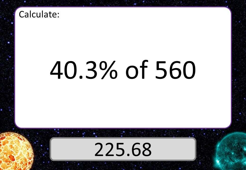 Percentage of a Quantity - Calculator - 3 Stars