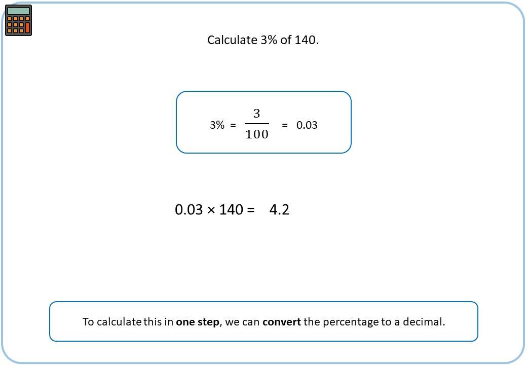 Percentage of a Quantity - Calculator - Demonstration