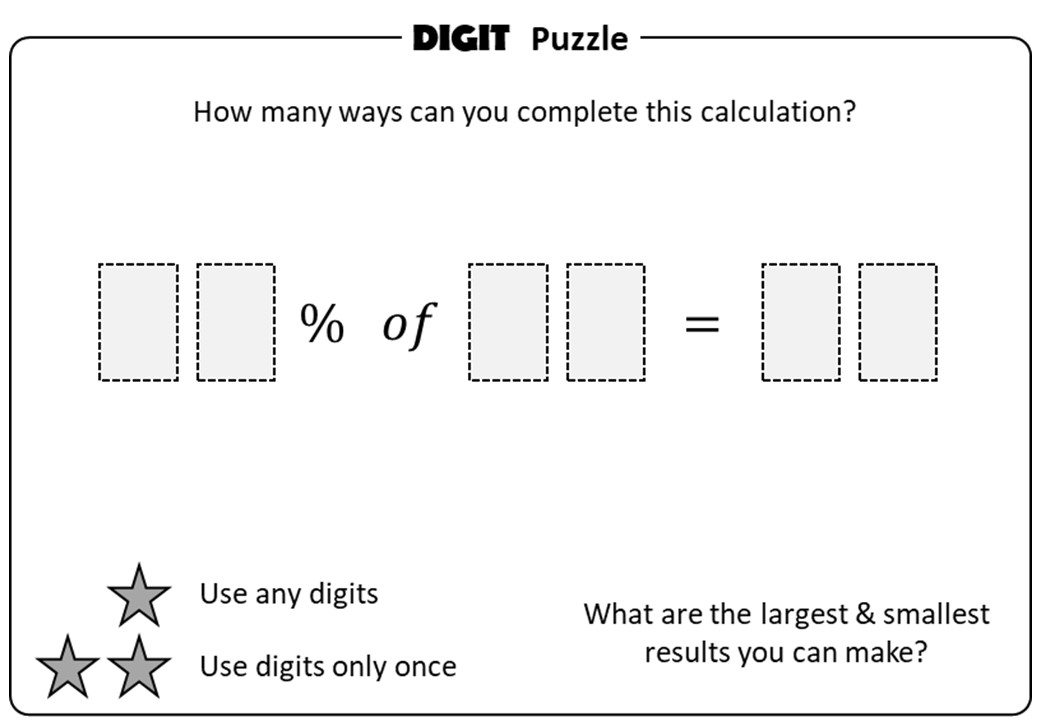 Percentage of a Quantity - Non-Calculator - Digit Puzzle