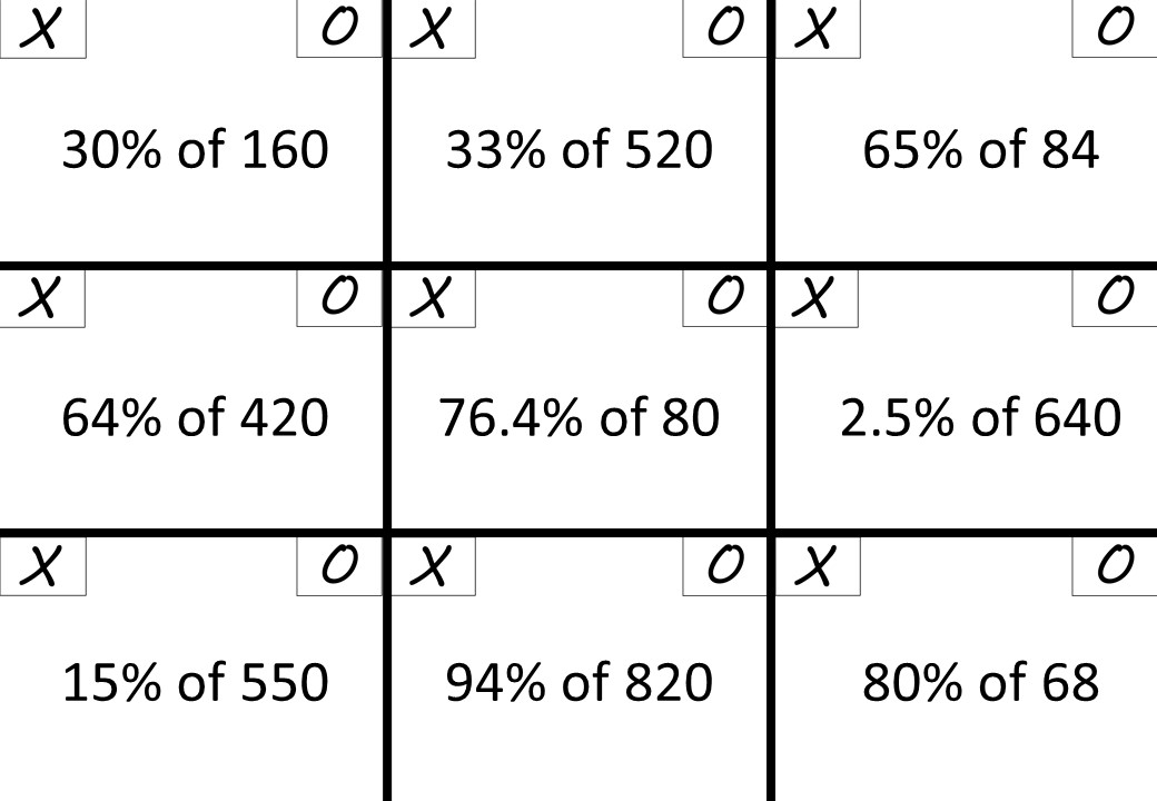Percentage of a Quantity - Non-Calculator - Noughts & Crosses