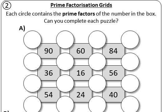 Prime Factorisation - Worksheet A