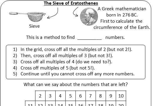 Prime Numbers - Worksheet A
