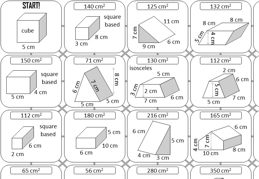 Prism - Surface Area - Answer Maze