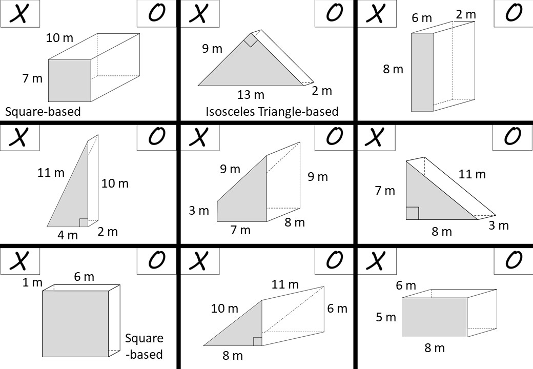 Prism - Surface Area - Noughts & Crosses A