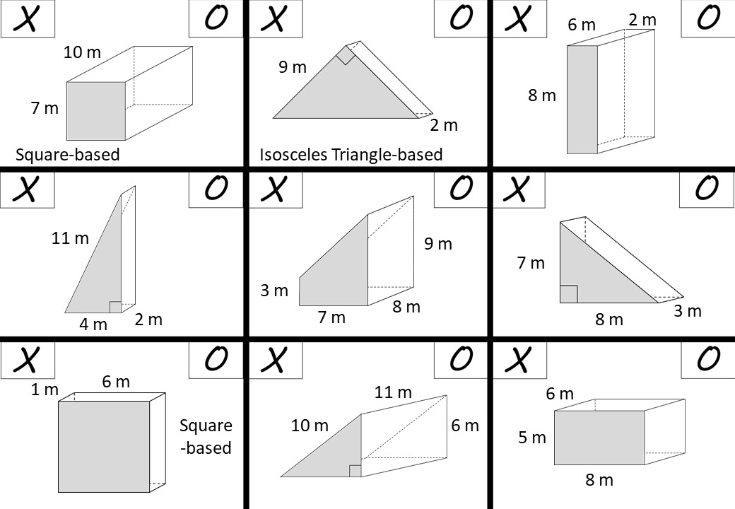 Prism - Surface Area - Noughts & Crosses B