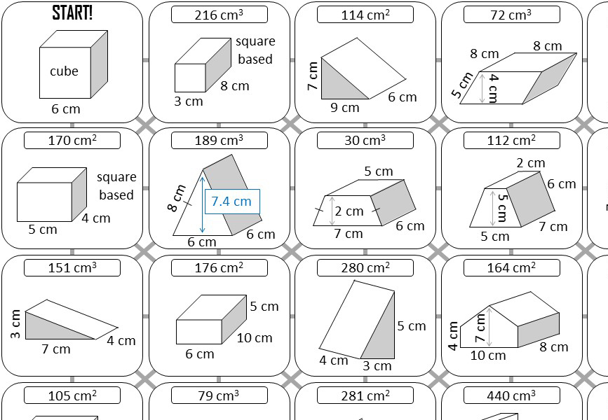 Prism - Volume & Surface Area - Answer Maze