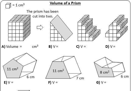 Prism - Volume - Worksheet A