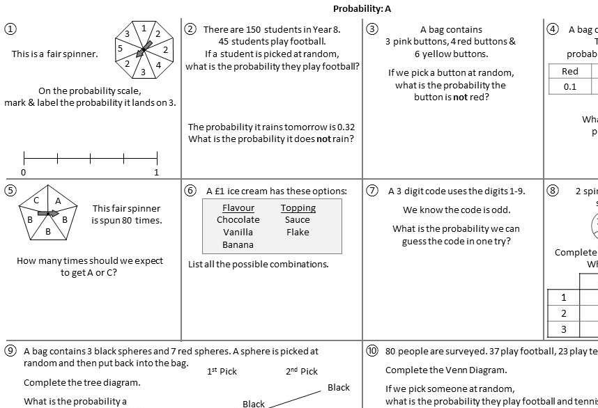 Probability - Foundation - Worksheet A