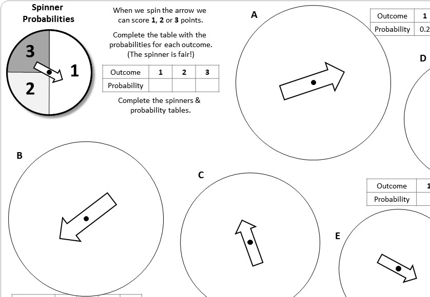 Probability - Single Event - Worksheet B