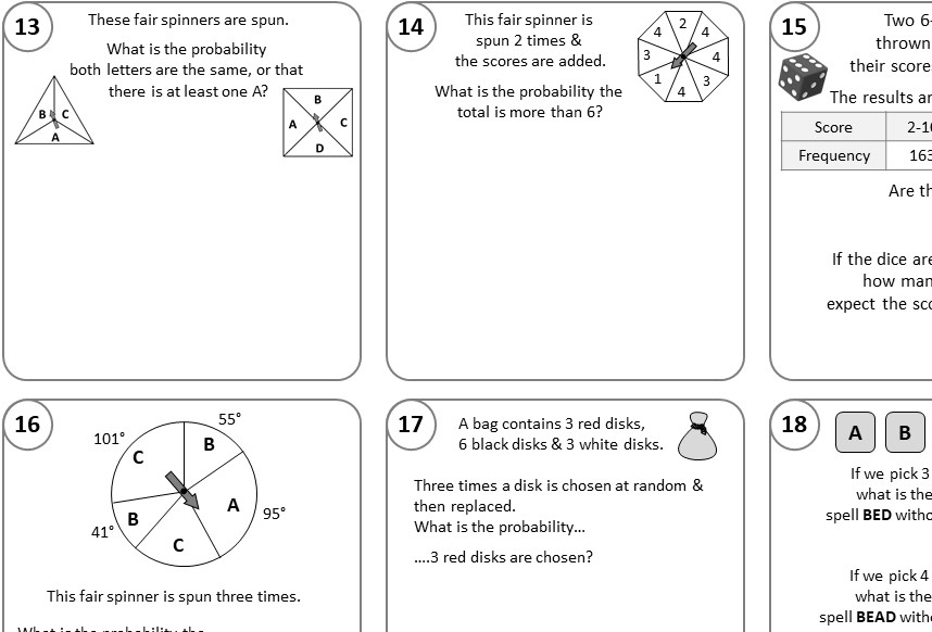Probability - Single & Multiple Event - Mixed - Relay Race B