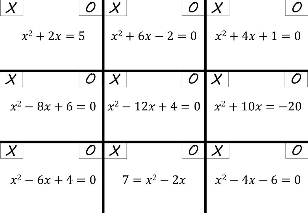 Quadratic Equations - Completing the Square - Noughts & Crosses