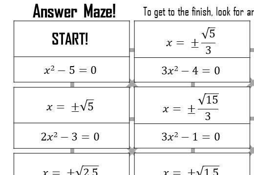 Quadratic Equations - b=0 - Answer Maze