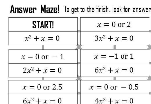 Quadratic Equations - c = 0 - Answer Maze
