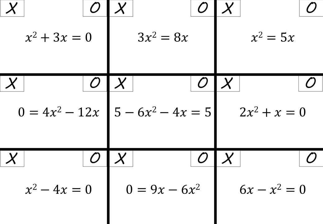 Quadratic Equations - c = 0 - Rearranging - Noughts & Crosses