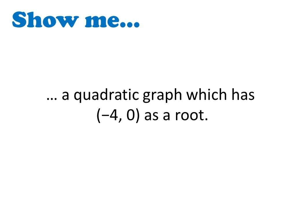 Quadratic Graph - Significant Points - Show Me
