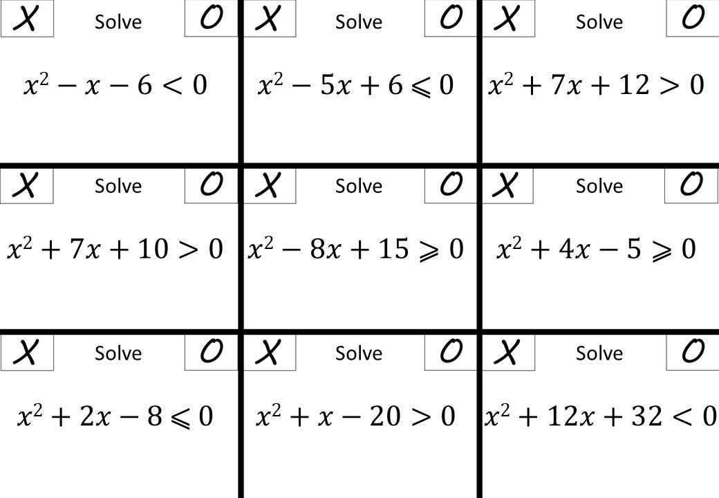 Quadratic Inequalities - Noughts & Crosses