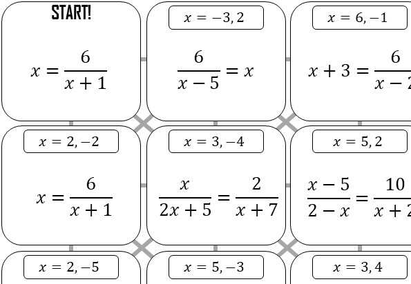 Quadratic Rational Equations - Without Coefficients - Answer Maze