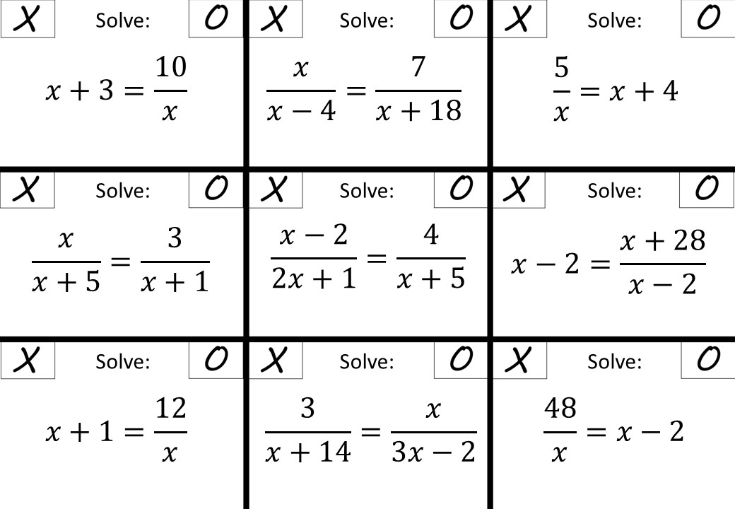 Quadratic Rational Equations - Without Coefficients - Noughts & Crosses