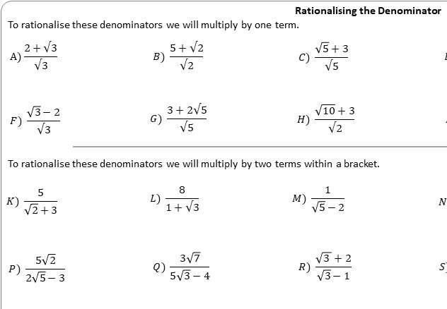 Rationalising Denominators - Worksheet A
