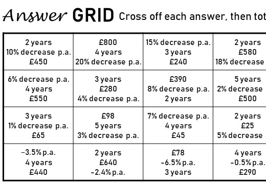 Repeated Percentage Change - Decrease - Answer Grid