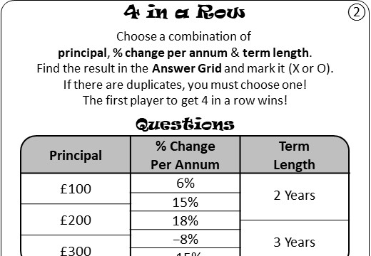 Repeated Percentage Change - Increase & Decrease - Four in a Row