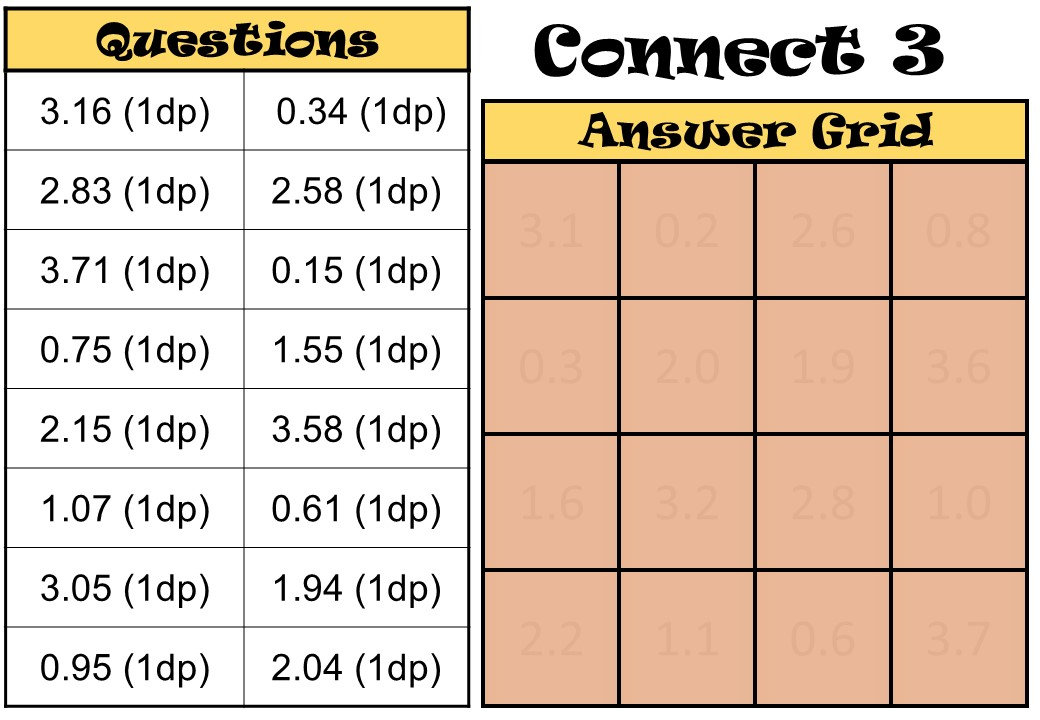 Rounding - Decimal Places - Connect 3