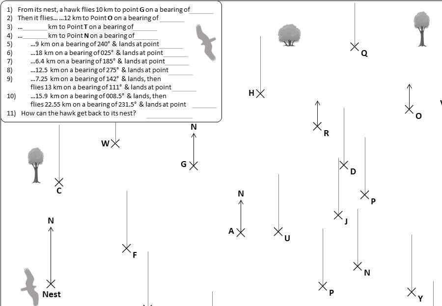Scale Drawings & Bearings - Worksheet D
