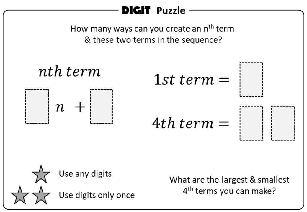 Sequences - Linear - Digit Puzzle
