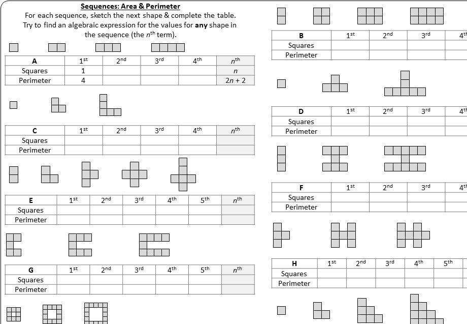Sequences - Linear - Worksheet A