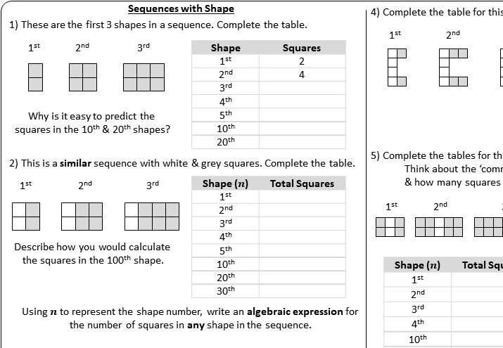 Sequences - Linear - Worksheet B