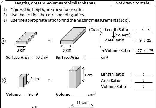 Similar Shapes - Length, Area & Volume - Worksheet A