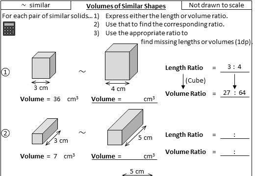 Similar Shapes - Volume - Worksheet A