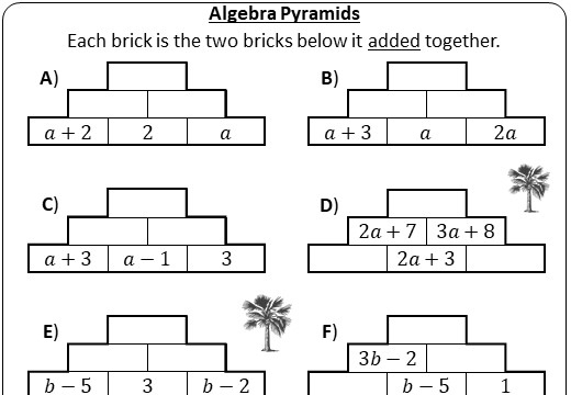 Simplifying Expressions - Adding - Pyramids