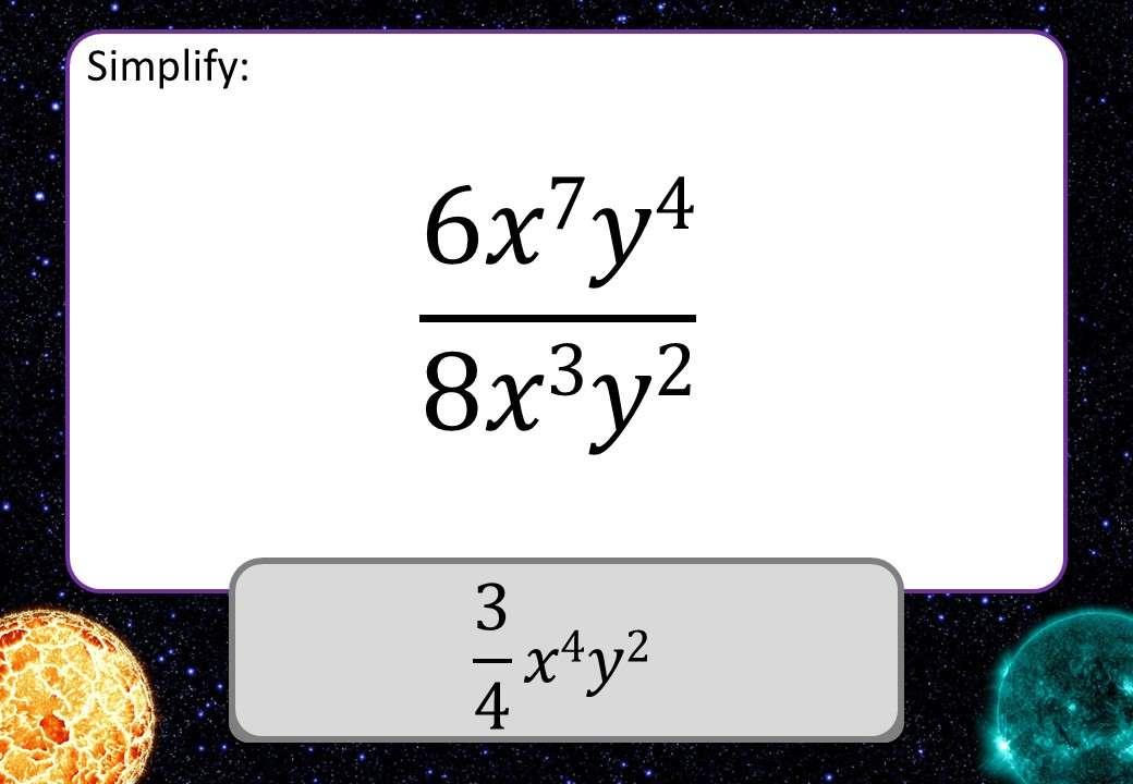Simplifying Expressions - Dividing - 3 Stars