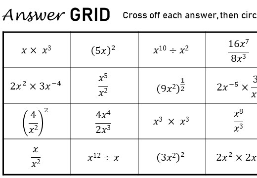 Simplifying Expressions - Mixed Arithmetic - Answer Grid