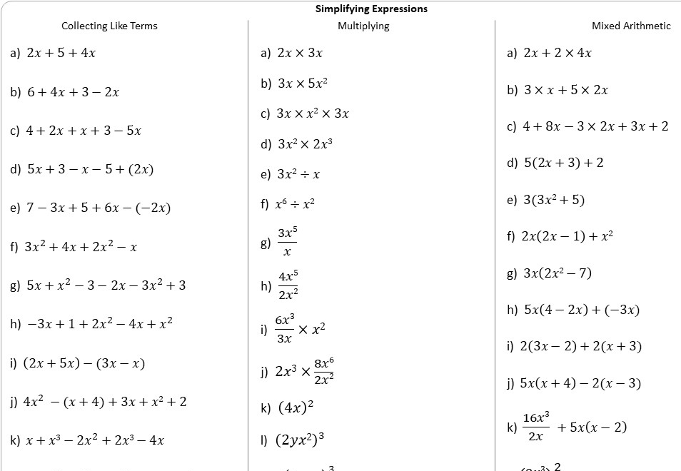 Simplifying Expressions - Mixed Arithmetic - Worksheet A