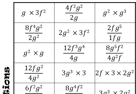 Simplifying Expressions - Multiplying & Dividing - Four in a Row