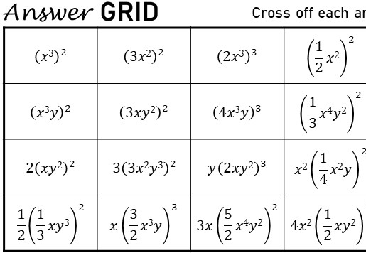 Simplifying Squared & Cubed Expressions - Answer Grid