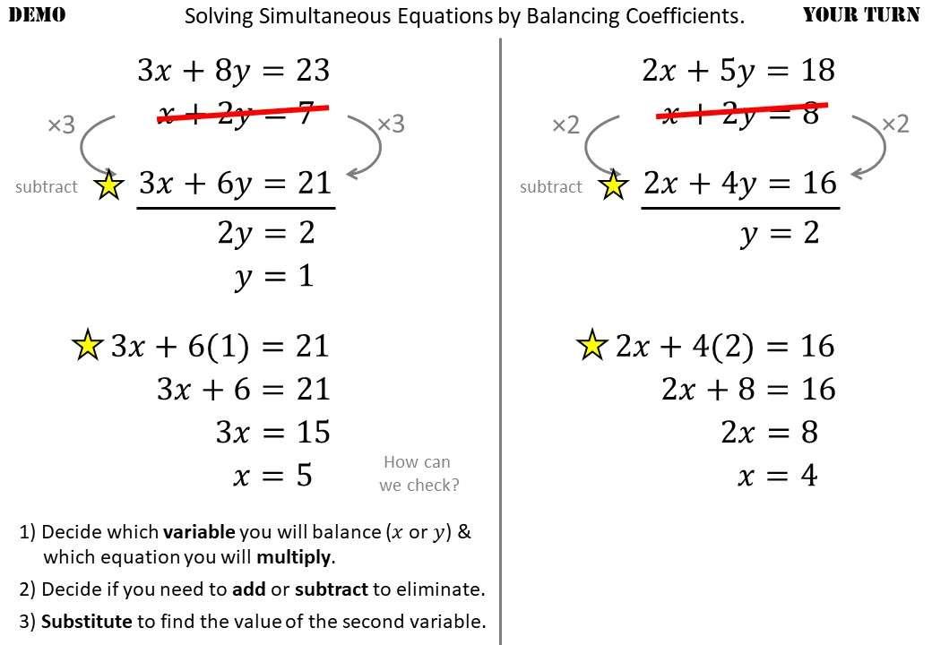 Simultaneous Equations - Balancing - Demonstration