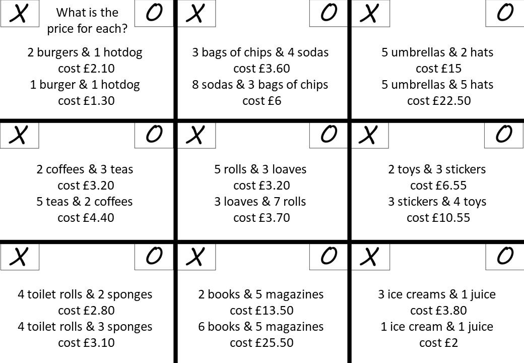 Simultaneous Equations - Forming - Noughts & Crosses A