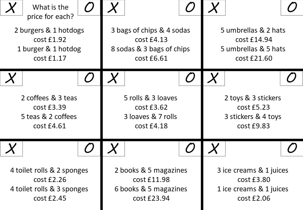 Simultaneous Equations - Forming - Noughts & Crosses B