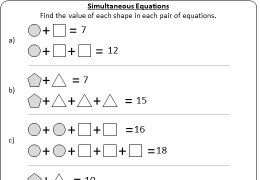 Simultaneous Equations - Forming & Solving - Worksheet A