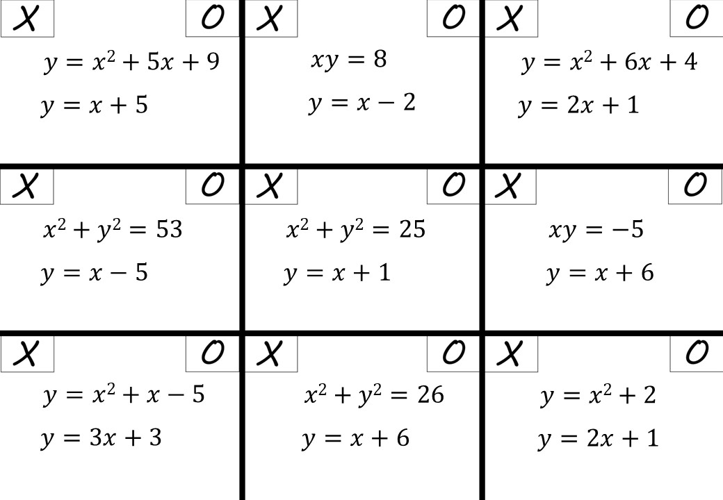 Simultaneous Equations - Linear & Non-Linear Algebraically - Noughts & Crosses
