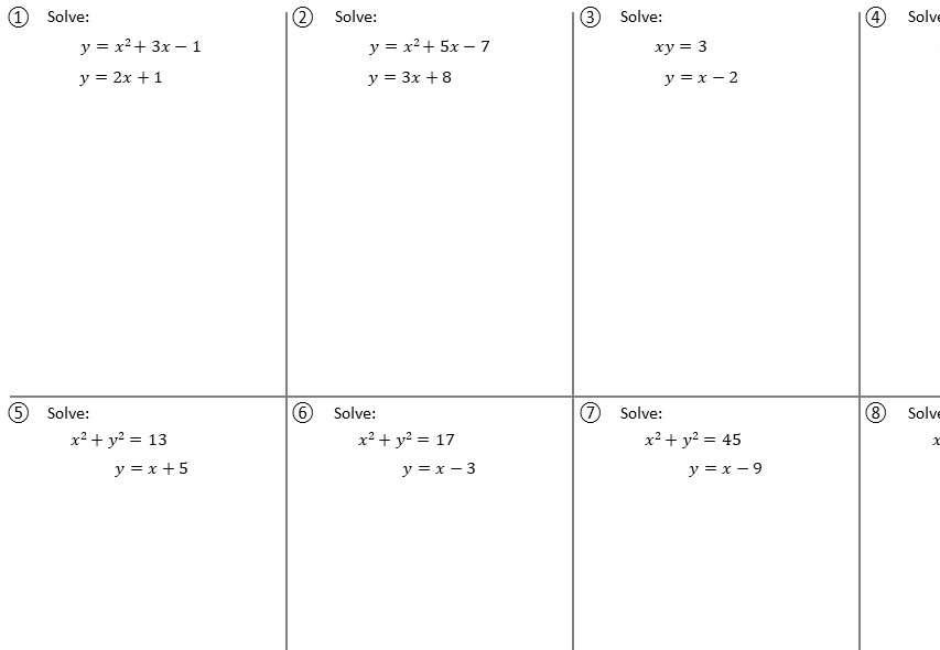 Simultaneous Equations - Linear & Non-Linear Algebraically - Worksheet A
