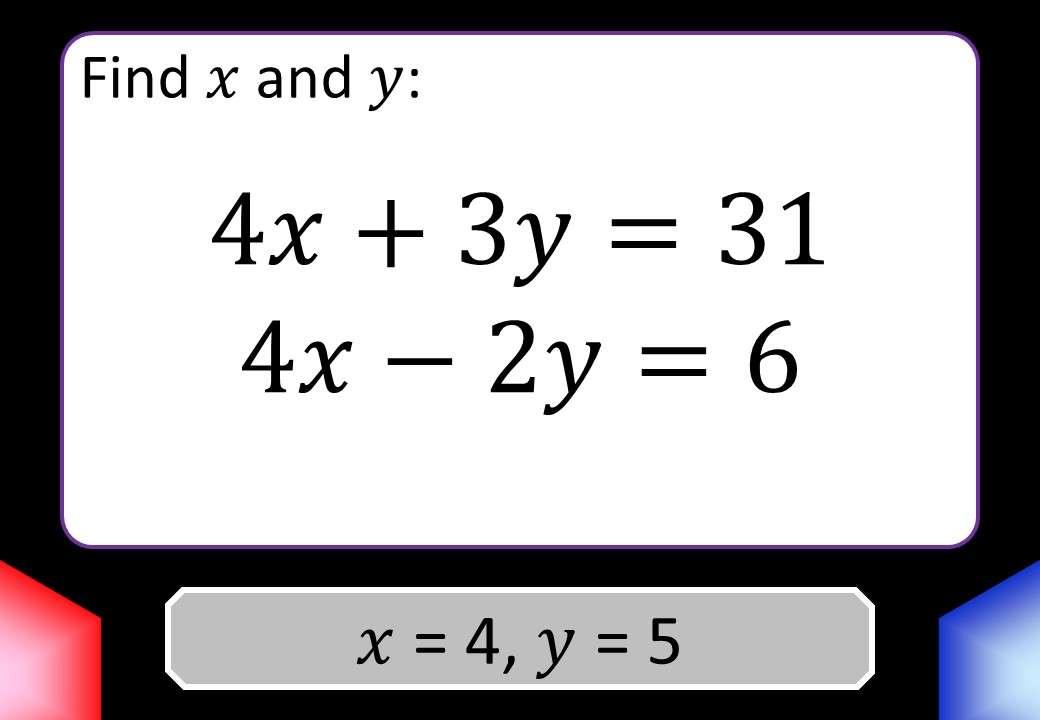Simultaneous Equations - Mixed - Blockbusters