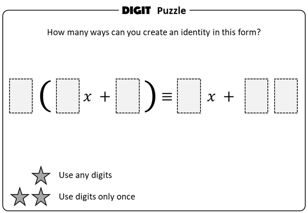 Single Brackets - Expanding - With Coefficients - Digit Puzzle
