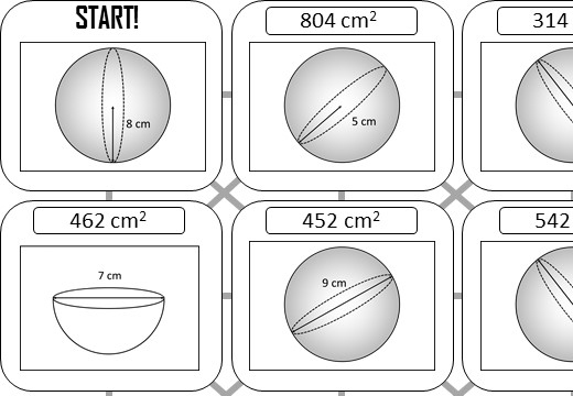 Sphere - Surface Area - Answer Maze