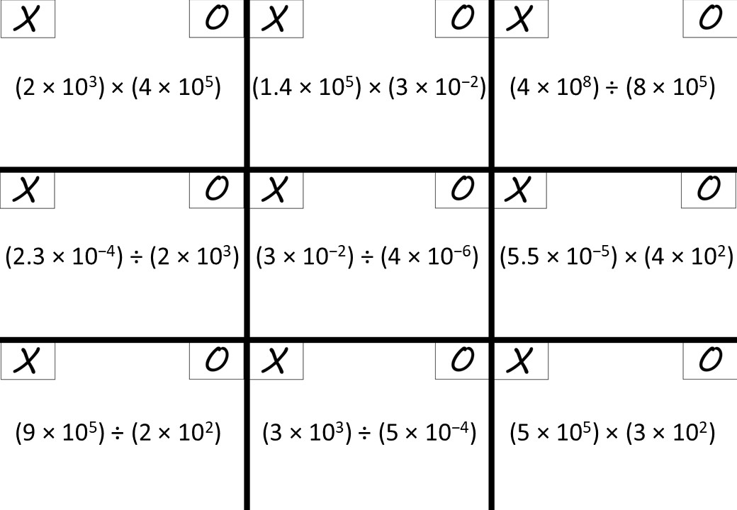 Standard Form - Multiplying & Dividing - Non-Calculator - Noughts & Crosses