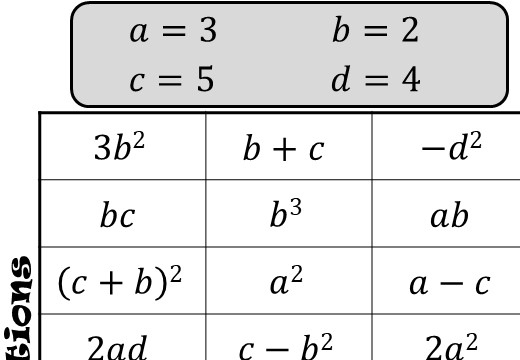 Substitution - Positive - With Indices - Four in a Row